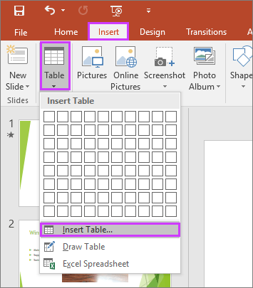 Shows the Table option in the Insert tab on the ribbon in PowerPoint
