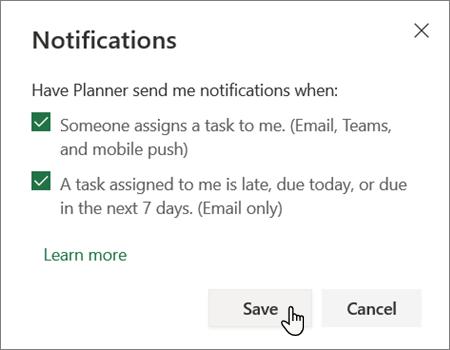 Planner notifications settings box