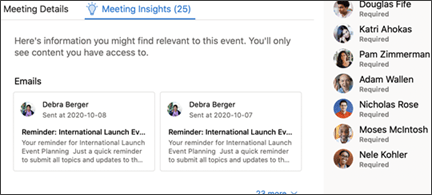 Meeting insights preview.