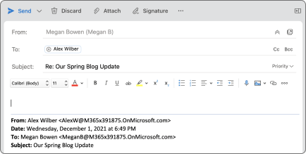 Reply button in outlook for Mac.