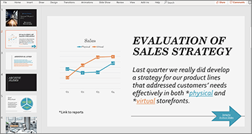 Presentation with slide containing a chart and text with two hyperlinks