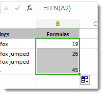 Entering multiple LEN functions in a worksheet to count characters.