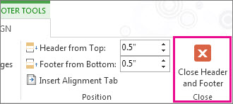 Header and footer Close button