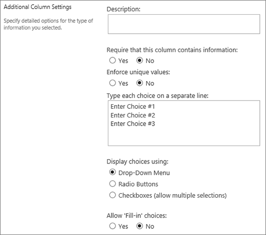 Options for Choice columns