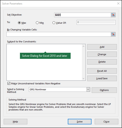 Image of the Excel 2010+ Solver dialog