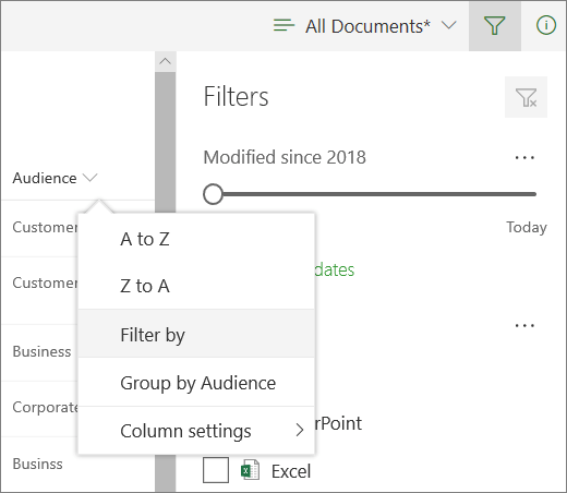 Click Filter by to open filter panel