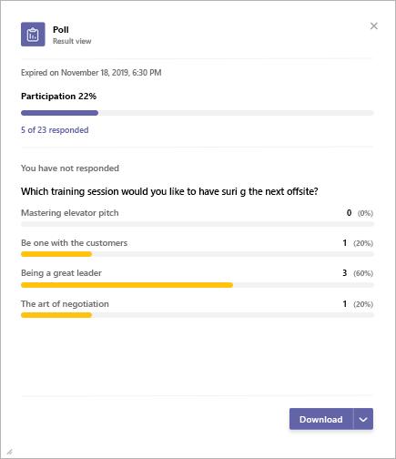 Microsoft Teams Poll app results