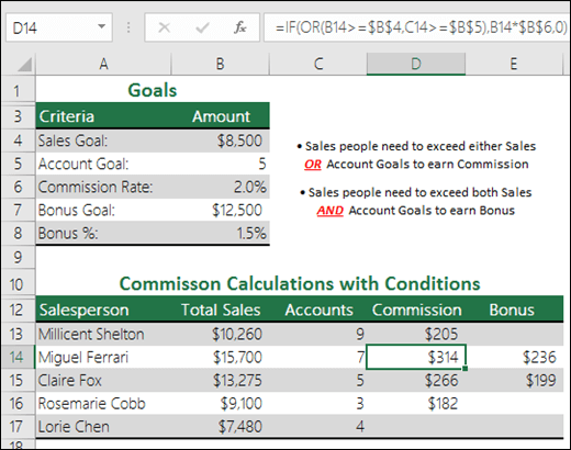 Example of using IF and OR to calculate sales commission.