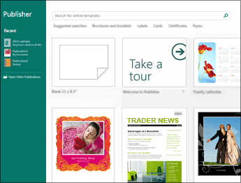 Screenshot of templates on the Publisher Start screen.