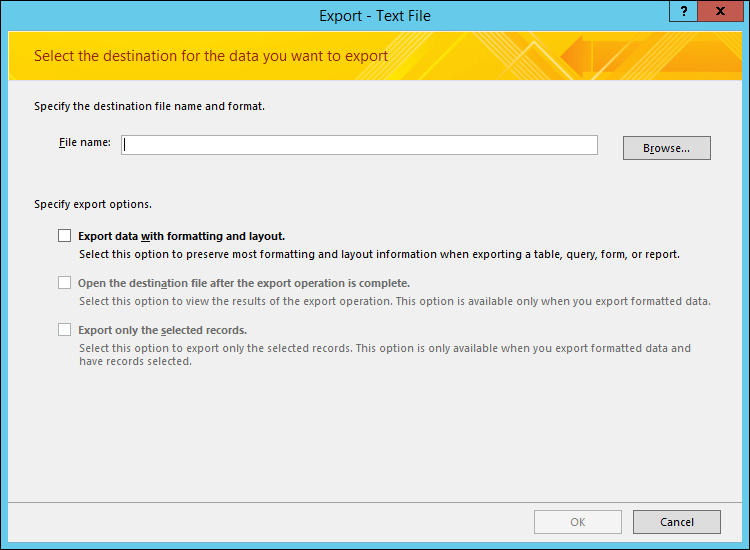 Select your export options on the Export - Text File dialog box.