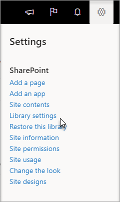 Settings menu with Library Settings selected