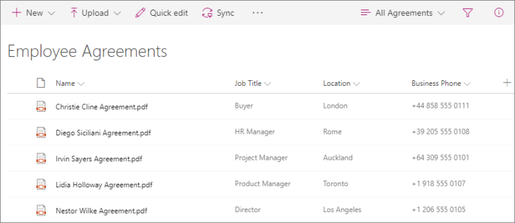 Screenshot of employee agreements library