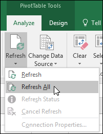 Refresh all PivotTables from the Ribbon > PivotTable Tools > Analyze > Data, click the arrow under the Refresh button and select Refresh All.