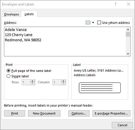 Envelope and labels dialog - labels