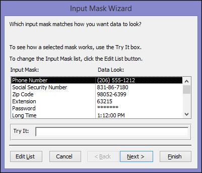 Input Mask Wizard in Access desktop database
