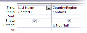 image of query designer with the is not criteria