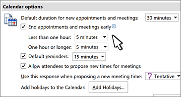 Calendar options dialog box with End appointments and meetings early check box selected
