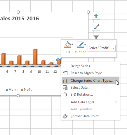 Right-click on a chart and see formatting options