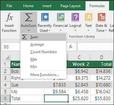 You can use the AutoSum Wizard for adding values in spreadsheets to automatically build a Sum formula.  Select a range above/beneath or left/right of the range to be summed and goto the Formula tab on the Ribbon, then select AutoSum & SUM.