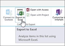 SharePoint Export to Excel button on ribbon highlighted