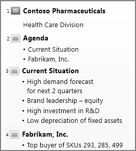 Shows Outline View in PowerPoint