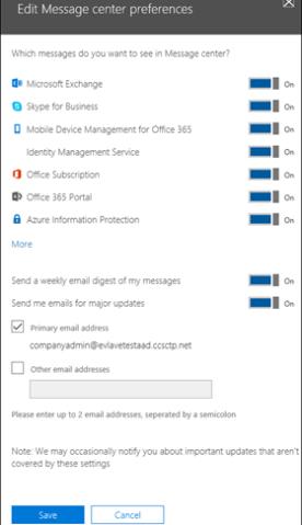 Message center preferences