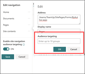 Navigational audience targeting dialog box to enter groups