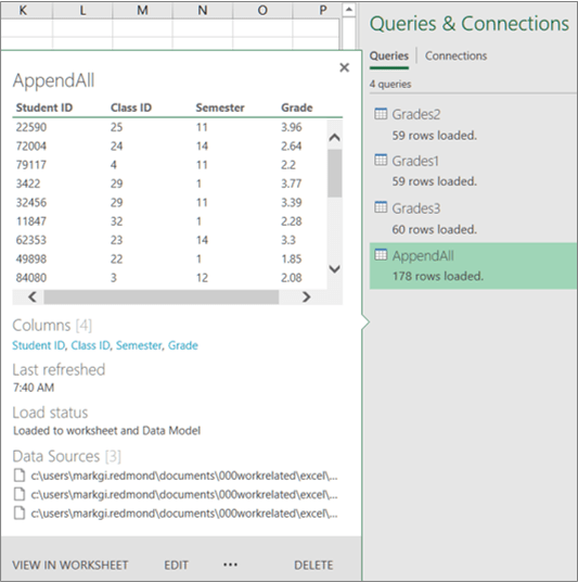 Manage workbook queries