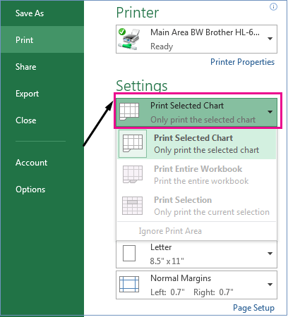 In the Settings drop-down menu, identify what you want to print.
