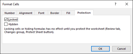 Protection tab in the Format Cells dialogue box for entering protected worksheet areas