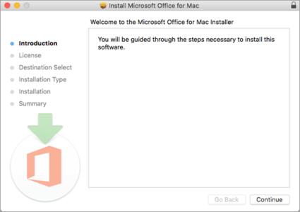 """schermo di 2016 Prima installazione di Mac con """"Avanti"""" evidenziato"""