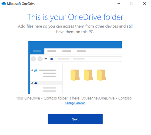 Screenshot of the This is Your OneDrive Folder screen in the Welcome to OneDrive wizard