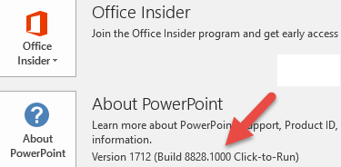 Version and build number next to About PowerPoint button_C3_20171111104233