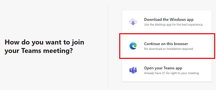 Join booking from desktop - options for joining - select continue on this browser