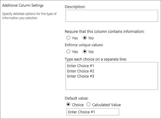 Task outcome column choices
