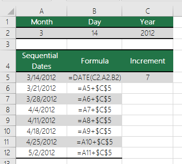 Increase or decrease a date by a certain number of days