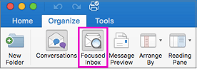 Focused Inbox button on the Organize tab of the ribbon