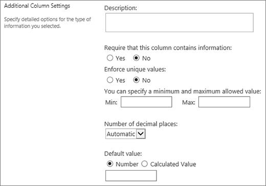 Choices for the numeric column