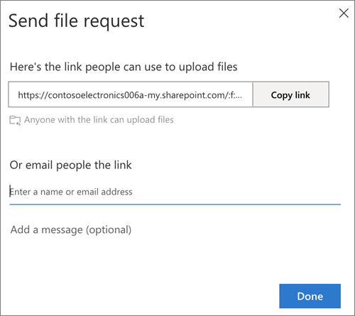 The Send file request dialog box providing a link or email address option in OneDrive for Business
