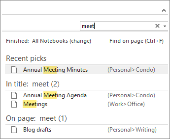 Use Search to look for notes anywhere in OneNote.