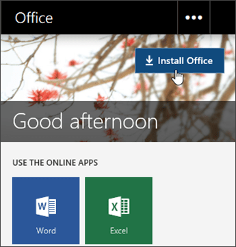 Screenshot showing Install Office button - www.office.com/setup