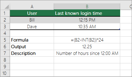 Example: Convert hours from standard time format to a decimal number