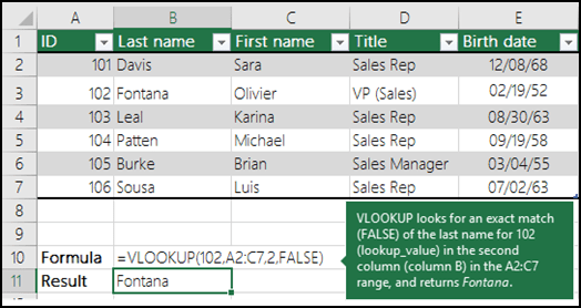 VLOOKUP Example 2 - Look up values in a list of data.