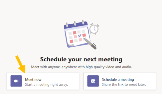 Select Meet now button
