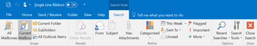 Once you select the search box, the ribbon changes.