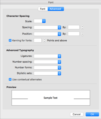 Shows the Advanced tab in the Font dialog box