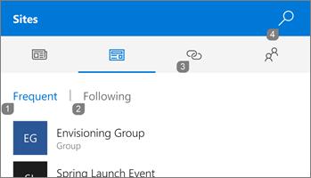 Screenshot of Sites tab