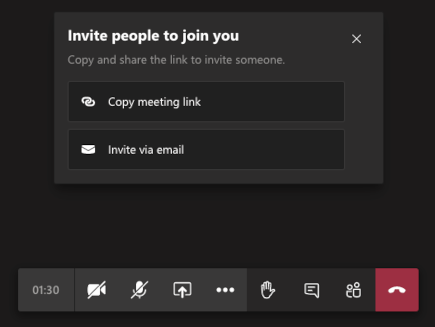 Invite people to join you screen