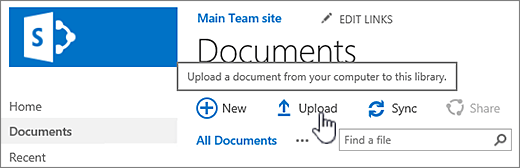 Document library with Upload button highlighted