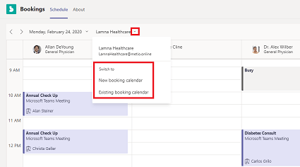 Switch to new or existing booking calendar
